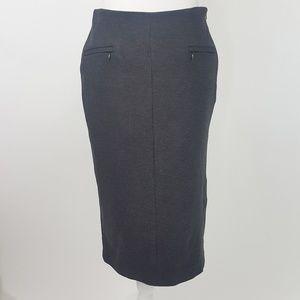 Halogen Ponte Knit Midi Pencil skirt 4 Small Gray